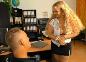 Yvonne -Naughty German granny Yvonne rides cock at the office